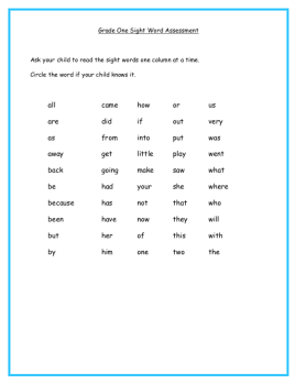 Screen Shot Grade One Sight Word Asess